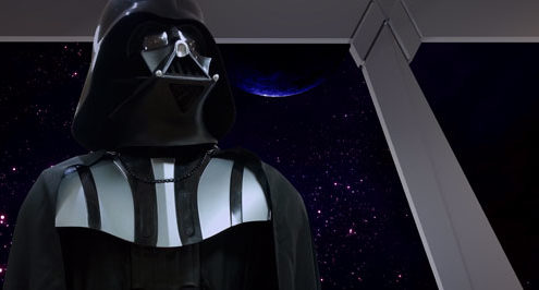 Lord Vader looking up in an Imperial room